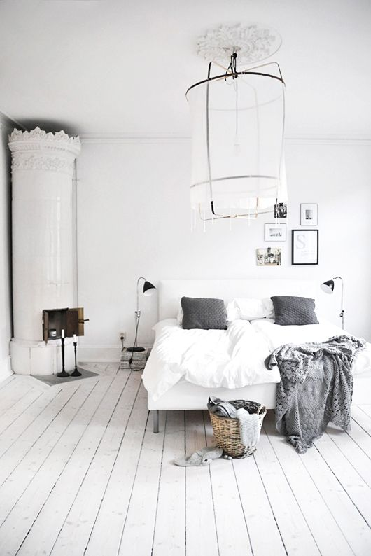 gray / white bedroom