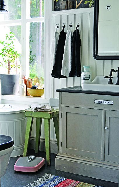 Lunda Gard / Aja and Christian Lund {gray and white eclectic rustic vintage modern bathroom} by recent settlers, via Flickr