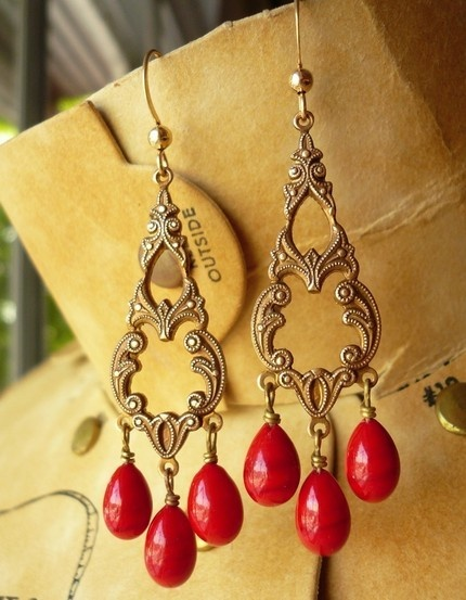 blood red vintage filigree gothic earrings.