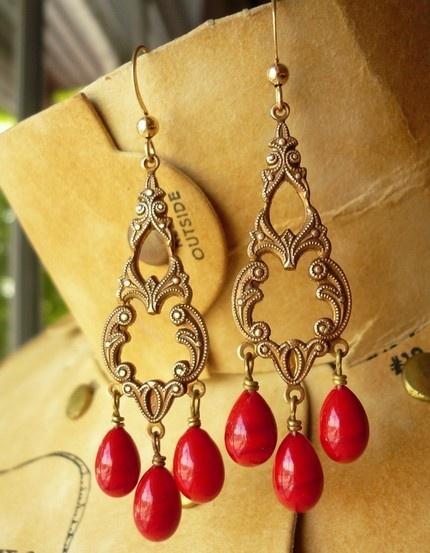 blood red vintage filigree gothic earrings.