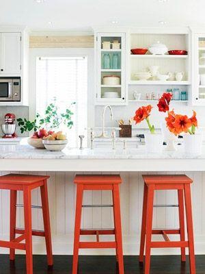 orange kitchen stools
