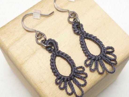 Tatted Lace Earrings in dark gray
