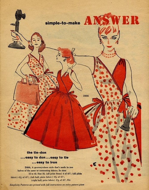 An ad for lovely, easy to make summertime tie wrap dresses from 1950s. #vintage #retro #1950s #fashion #dress