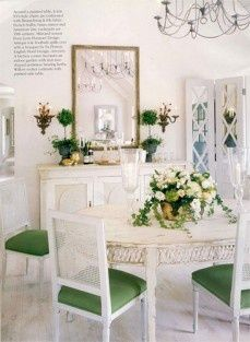 South Shore Decorating Blog, love the mirrored screen; crisp and pretty dining space.