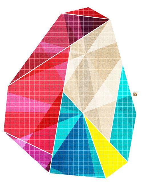 Geometry - Cool (Geometric Facet), 8X10 Art Print. Etsy.