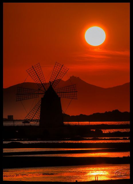 Sunset in Windmill, Marsala - Province of Trapani Sicily Italy