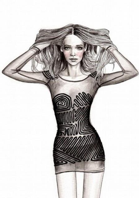 Alexander Wang dress. #illustration #painting #drawing