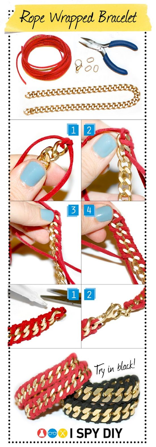 #DIY rope wrapped chain bracelet