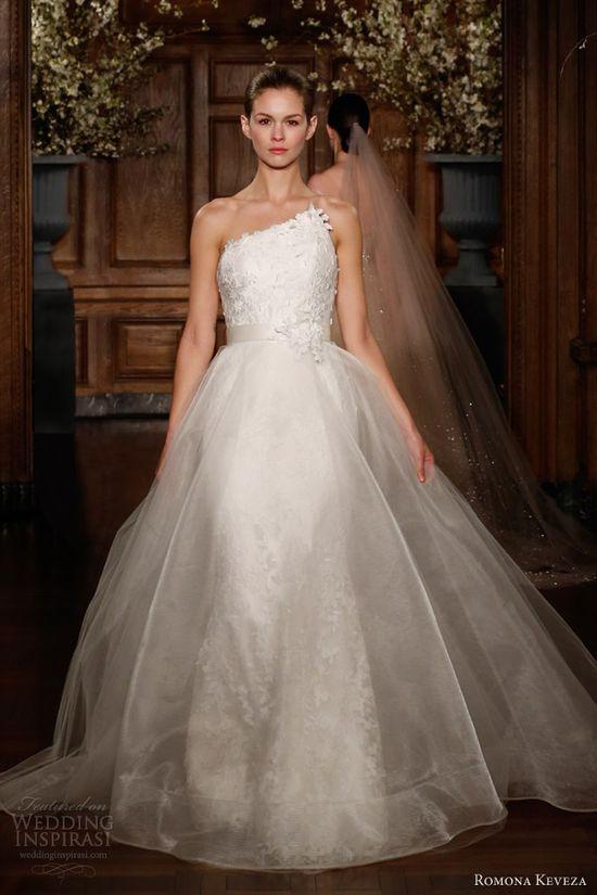 romona keveza spring 2014 bridal millennium wedding dress asymmetric neckline
