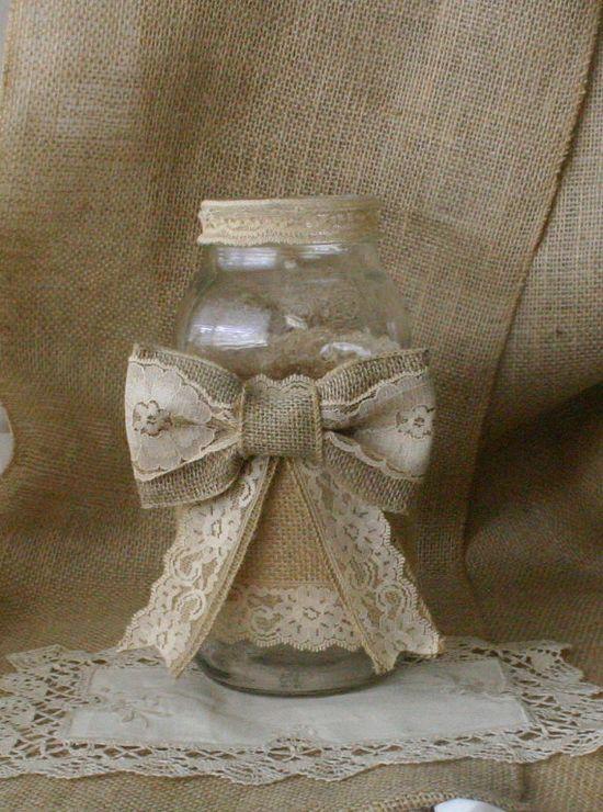 Burlap flower vase