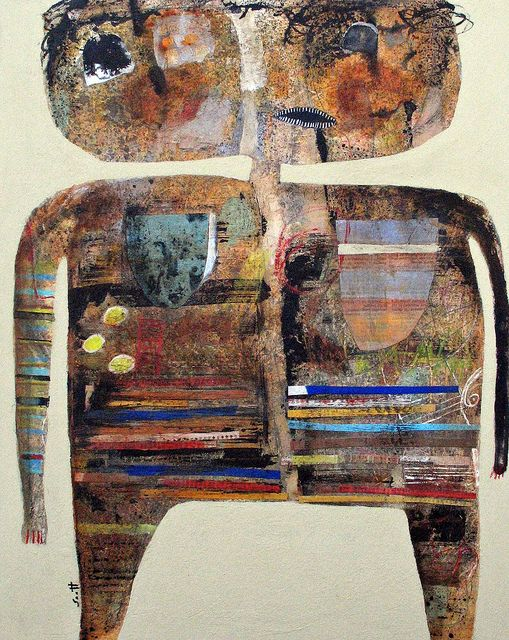 """Something To Give""    20 x 16 , mixed media collage on cardboard. January 2012 . by scott bergey"