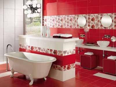 White Red Color Scheme Bathroom Design Ideas