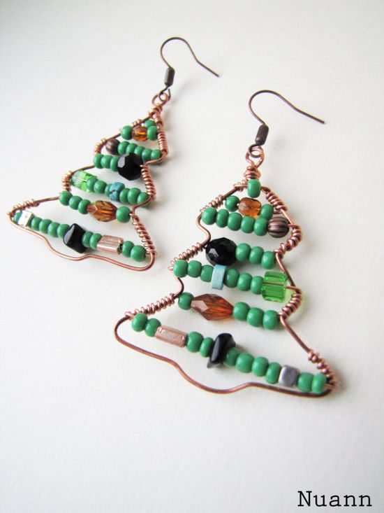 Christmas Tree Earrings Holiday Jewelry Christmas by Nuann on Etsy, $13.00