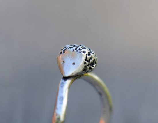 So cute!!    Hedgehog ring sterling silver ring hammered by SilverBlueberry.