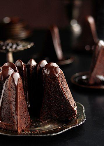 Sliced Chocolate Espresso Bundt Cake with Dark Chocolate Cinnamon Glaze