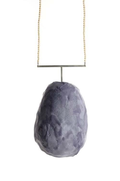 Geraldine Nishi  Necklace: Melanzana 2010  Concrete, silver, beads