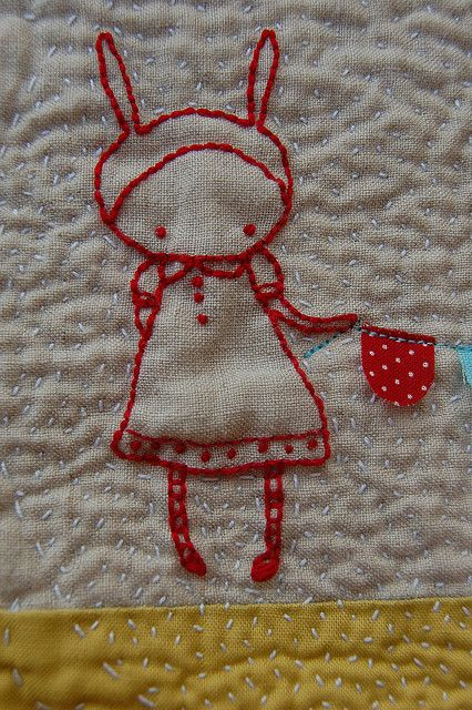 Cute rabbit embroidery.