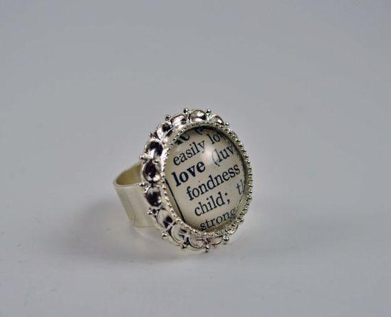 Vintage Dictionary Word Ring LOVE by www.kraftykash.net $23.00 #handmade #jewelry