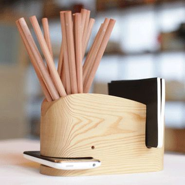 Wood whale office organizer