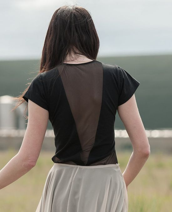 Geometric mesh tshirt  night black jersey with by murmuration.