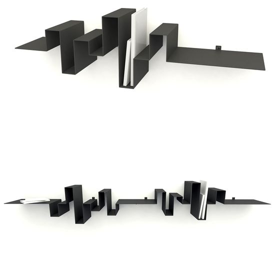 Storyline Bookshelf Rack // Frederik Roijé. The rack is shaped like how stories are built: There is an introduction, an increase to the climax, and the suspense curve and at the end which is remarked by a short, horizontal ending.