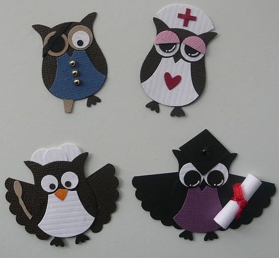 Different owls using Stampin Up Owl Punch