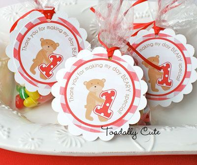 NEW  Teddy Bear Picnic Favor Tags by ToadallyCuteParties on Etsy, $12.00