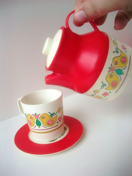 Vintage Toy Tea Dishes Set 1960s Retro Red and Bird Pattern 20 pecies via Etsy