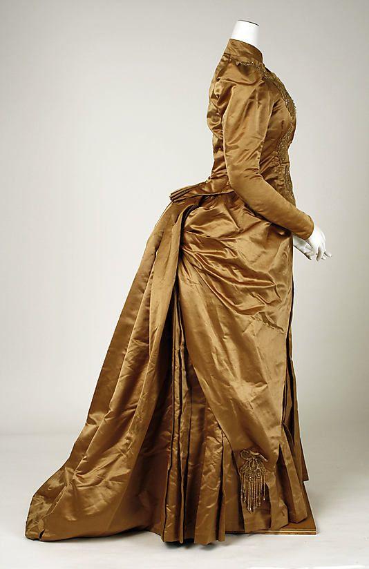 ~Dress Date: 1885–89 Culture: American Medium: (a) silk, cotton, glass; (b) silk, cotton, linen, wool, glass; (c, d) silk, cotton; (e) silk~