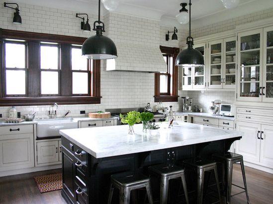 Love the black kitchen island! .