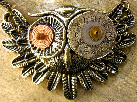 Industrial Steampunk Jewelry Owl Necklace retro style mixed medals and watch parts