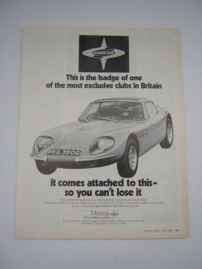 =-=Original Marcos Cars Advert from 1969 - Sports Car Ad Advertisement Classic