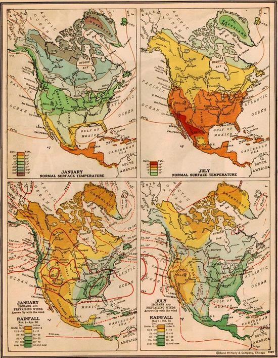 Vintage 1940s North America Temperatures and Rainfall Map.