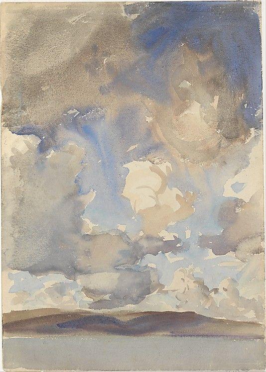 """""""Clouds"""" by John Singer Sargent, 1897 - watercolor on white wove paper"""
