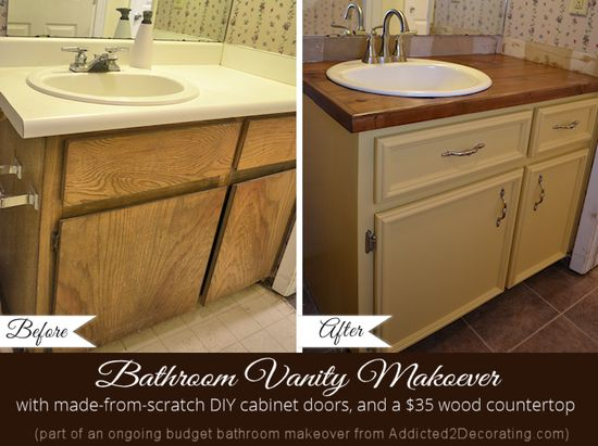 Addicted 2 Decorating » Bathroom Makeover Day 5 – The Finished Vanity, Before & After  Add molding to flat cabinet doors!
