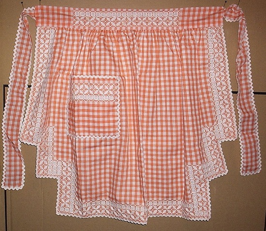 """Amazing """"Chicken Scratch"""" (aka Gingham Lace, or Snowflake  Embroidery) Apron found in a thrift shop by LindaB, via Flickr"""