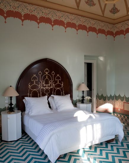 Jacques Grange designed the floor tiles and the hand painted ceiling and walls