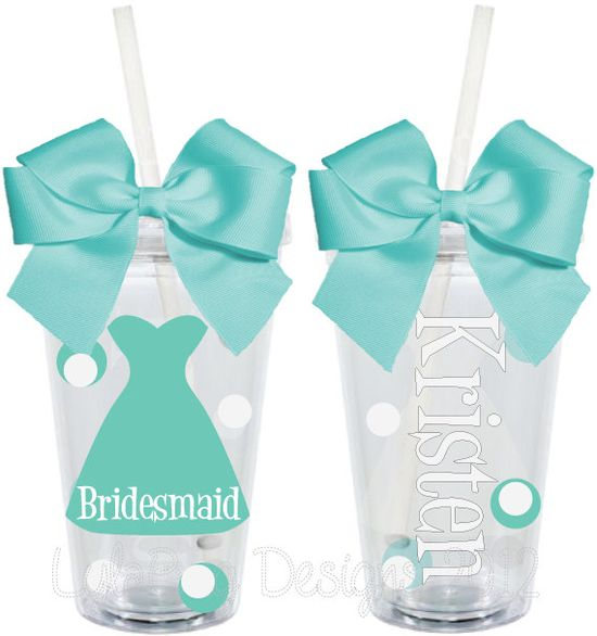 Bridesmaid Bridal Party Wedding Personalized 16oz  Acrylic Tumbler. $15.00, via Etsy.