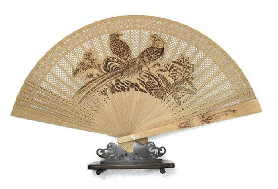 Hand made gift sandalwood fan hand fan magpie by Bloobling on Etsy, $19.00