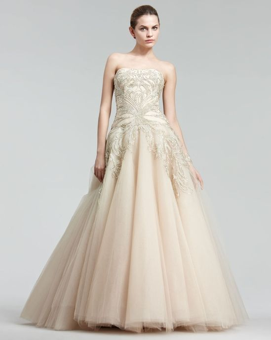 Marchesa Blush Embroidered Princess Gown #wedding #dress