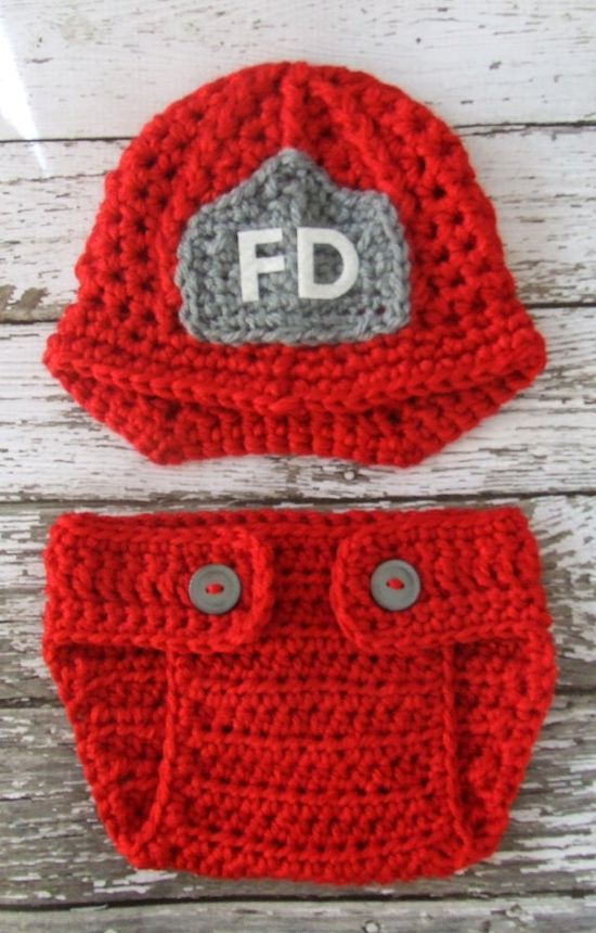 Firefighter Beanie Set for newborns!
