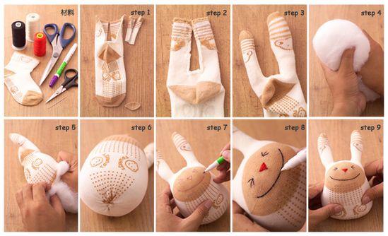Sock bunny stuffed toy