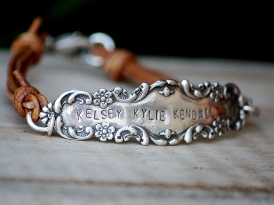 .silver flatware repurposed onto leather bracelet