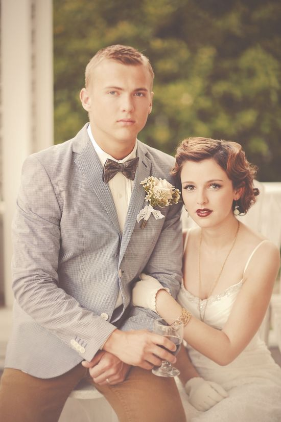 1920s inspired bride and groom look