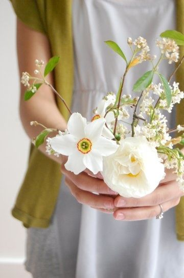 white flowers and olive green :)