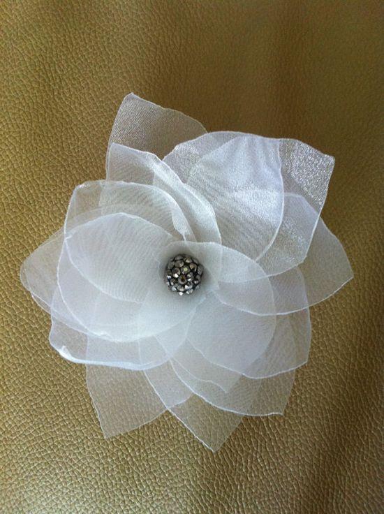 White handmade fabric flower, wedding, every day, by HandmadeByAnastasia