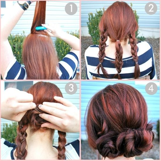 Braid bun (notice how the middle braid is 3 braids braided together)