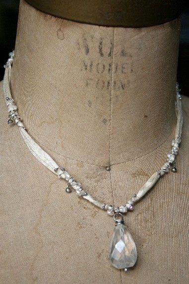 Silver Thaw - necklace with ribbon wrapped with wire