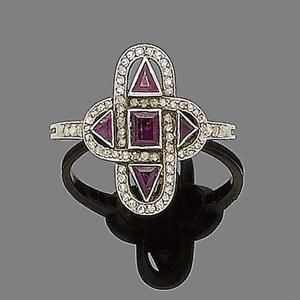 A ruby and diamond ring, circa 1920