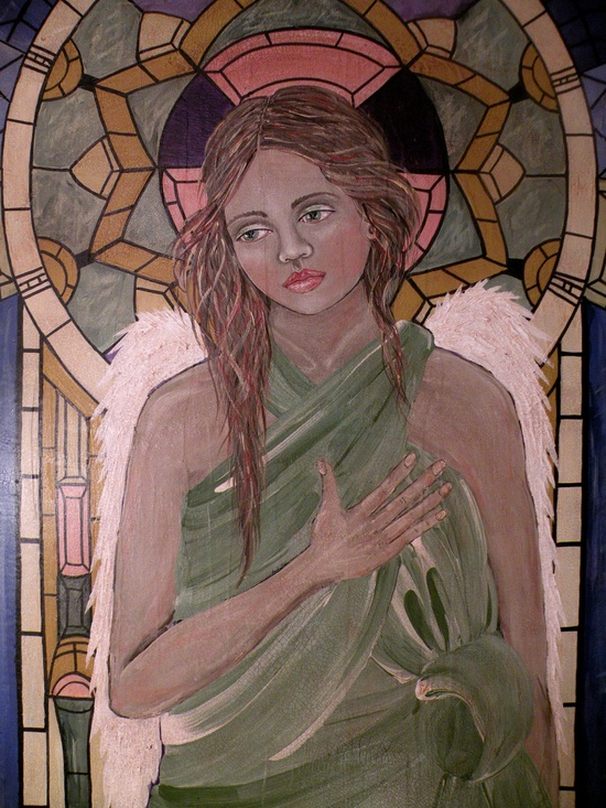 Folk Art Angel Portrait PRINT of Original Painting The by lore12